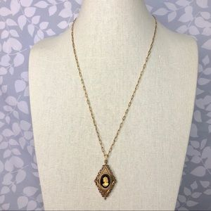 Vintage 60s Gold Glass Cameo Diamond Necklace